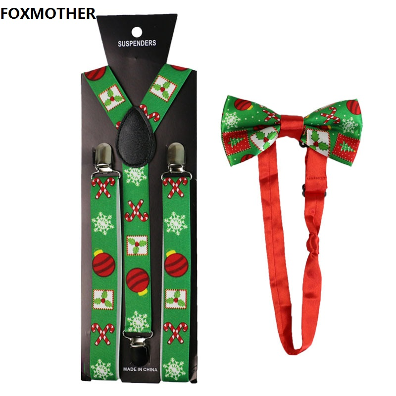 FOXMOTHER 2.5cm Wide Christmas Suspenders Bow Tie Set For Women Men