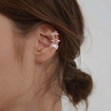 LISM 3 adet/takım 925 ayar gümüş kulak manşet olmadan kadınlar için Piercing küpe seti Earcuff gerçek gümüş moda takı kulak klipleri