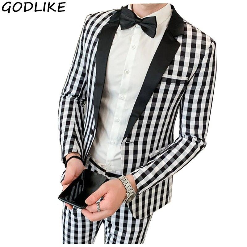 Fashion Suits For Men Black White Plaid Print 2 Pieces Mens Set Latest Coat Pant Designs Wedding Stage Singer Slim Fit Costume