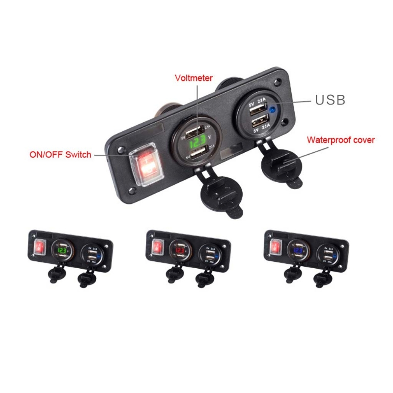 12V 24V 4 USB Charger Adapter LED Voltmeter With Switch Panel For Car Boat Truck LX9A