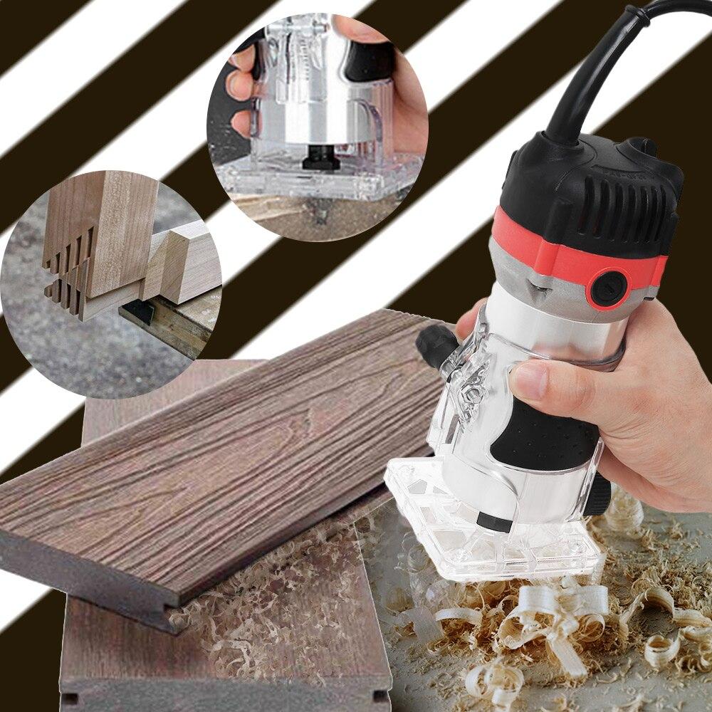 1200W 35000rpmWoodworking Elektrische Trimmer Holz Fräsen Gravur Stoßen Trimmen Maschine Hand Carving Maschine Holz Router