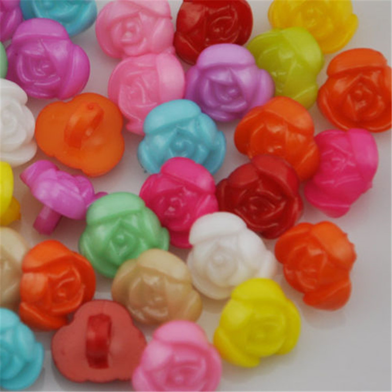 100pcs <font><b>10mm</b></font> Rose Plastic <font><b>Button</b></font> backhole lot Mix PH40 image