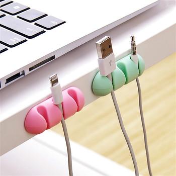 Uchwyt na kabel kabel silikonowy Organizer elastyczny uchwyt do zarządzania nawijaczem USB uchwyt na klawiatura z myszką słuchawki douszne tanie i dobre opinie CN (pochodzenie) cable winder Biurko zestawy