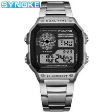 SYNOKE Men Luxury Watch Waterproof Golden Stainless Steel Digital Watches LED Alarm Clock Electronic Men's Sports Watch Relogio