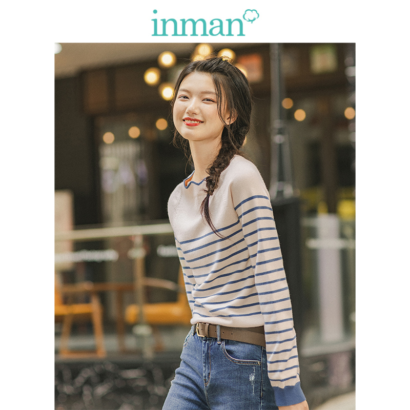 INMAN Spring Autumn Lace O-neck Minimalism All Matched Slim Literary Striped Women Pullover