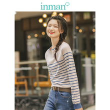 INMAN Spring Autumn Lace O neck Minimalism All Matched Slim Literary Striped Women Pullover