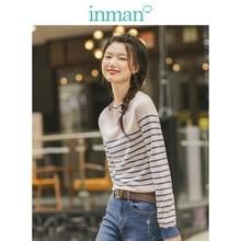 INMAN, весна осень, кружевной Женский пуловер с круглым вырезом, минимализм