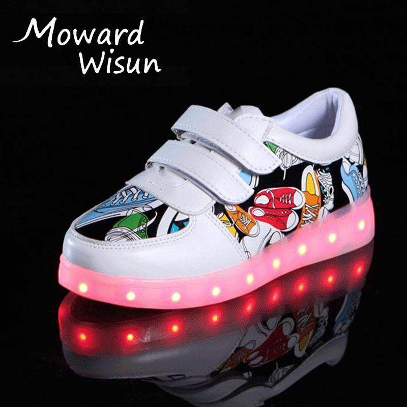 10 Styles Glowing Sneakers For Kids With Lights Girls Luminous Sole LED Shoes Kids Boys USB Charge Lighted Shoes For Children