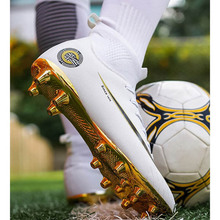 Profesionales High Ankle Soccer Shoes Kids Training AG Sole Outdoor Cleats Football Boots Original Men TF Chuteira futsal