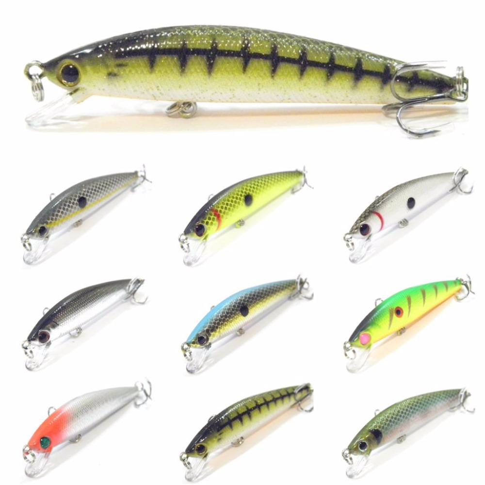 WLure 8.5cm 7.3g Minnow Crankbait 2 Balls Running Weight Transfer 2 Size 8 Hooks Tight Wobble Action Floating Jerkbait M638