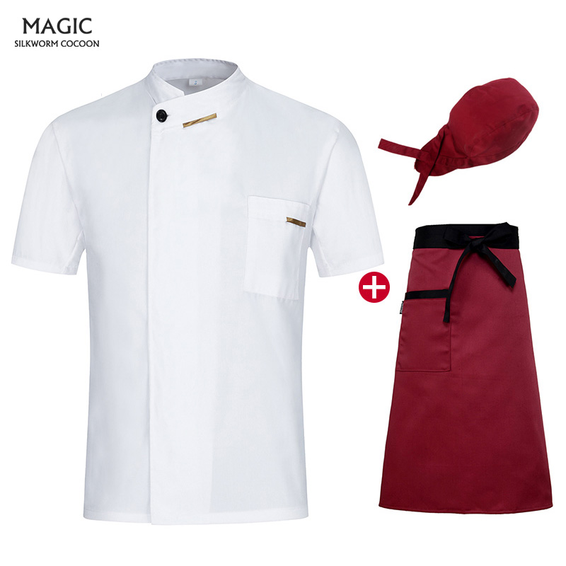 Restaurant Kitchen Chef Uniform Short Sleeve Chef Jacket Cook Coat Chef Clothes Hotel Bakery Pastry Cafe Overalls+Apron+Hat