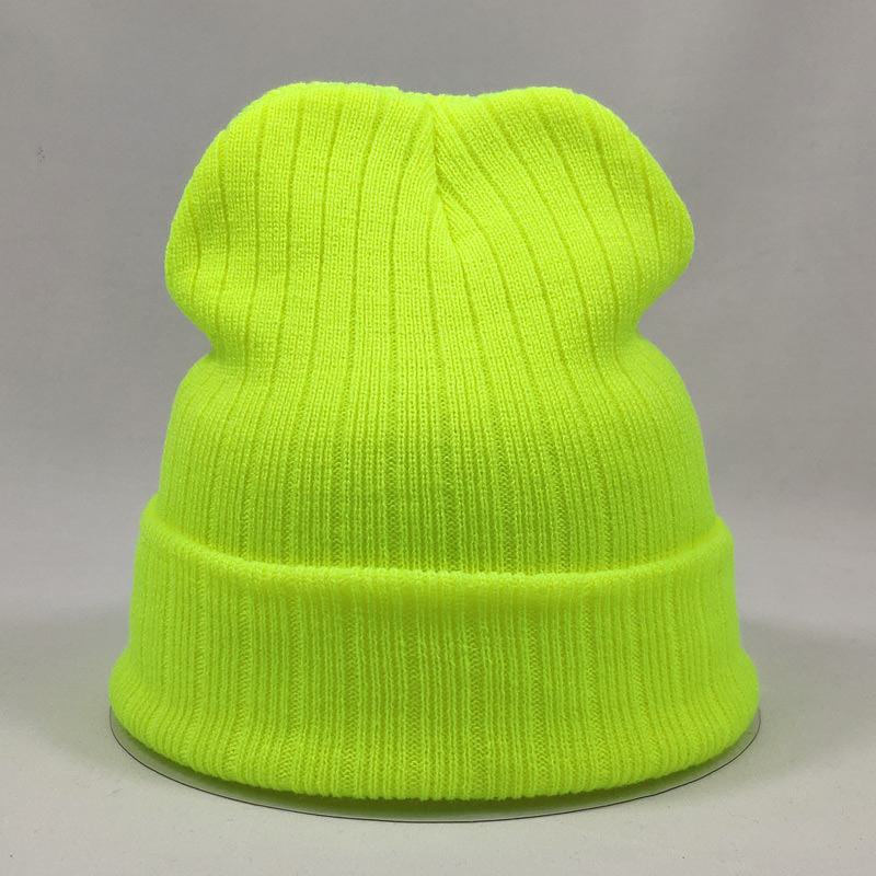 Bright Color Plain Mens Beanie Winter Knit Hats For Women Stretchy Acrylic Soft Hats Neon Yellow Rose Pink