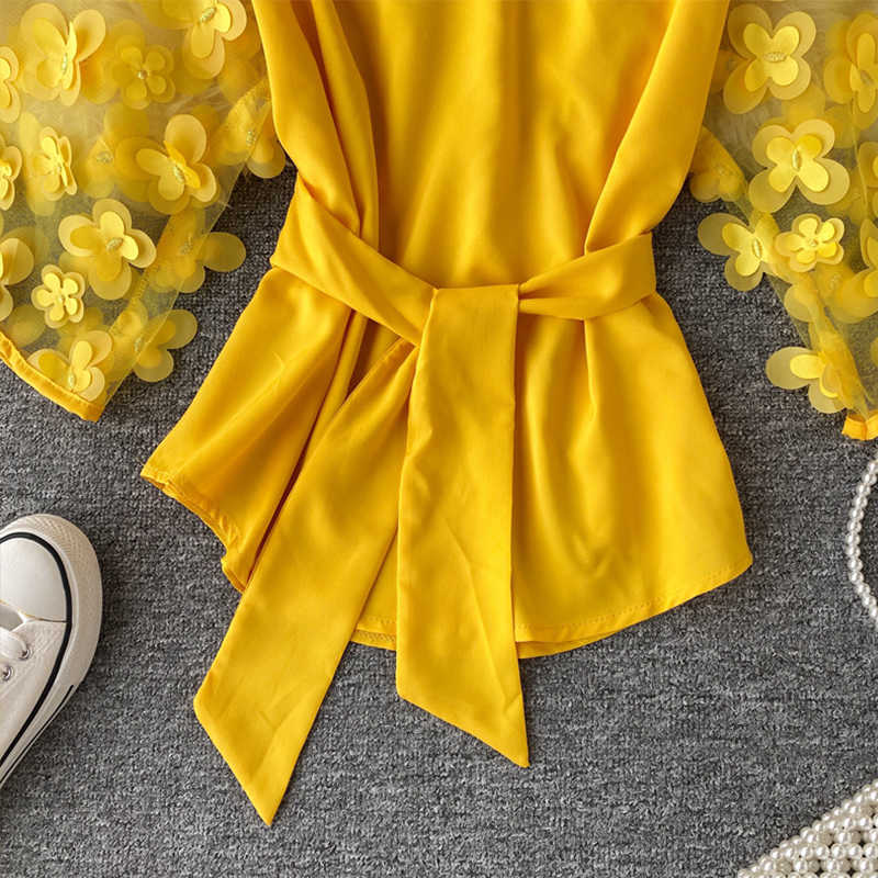Appliques Slash Leher Wanita Blus Tops Mesh Sambatan Ikat Pinggang Setengah Lengan Fashion Wanita Blus 2020 Musim Panas Kasual Wanita Top