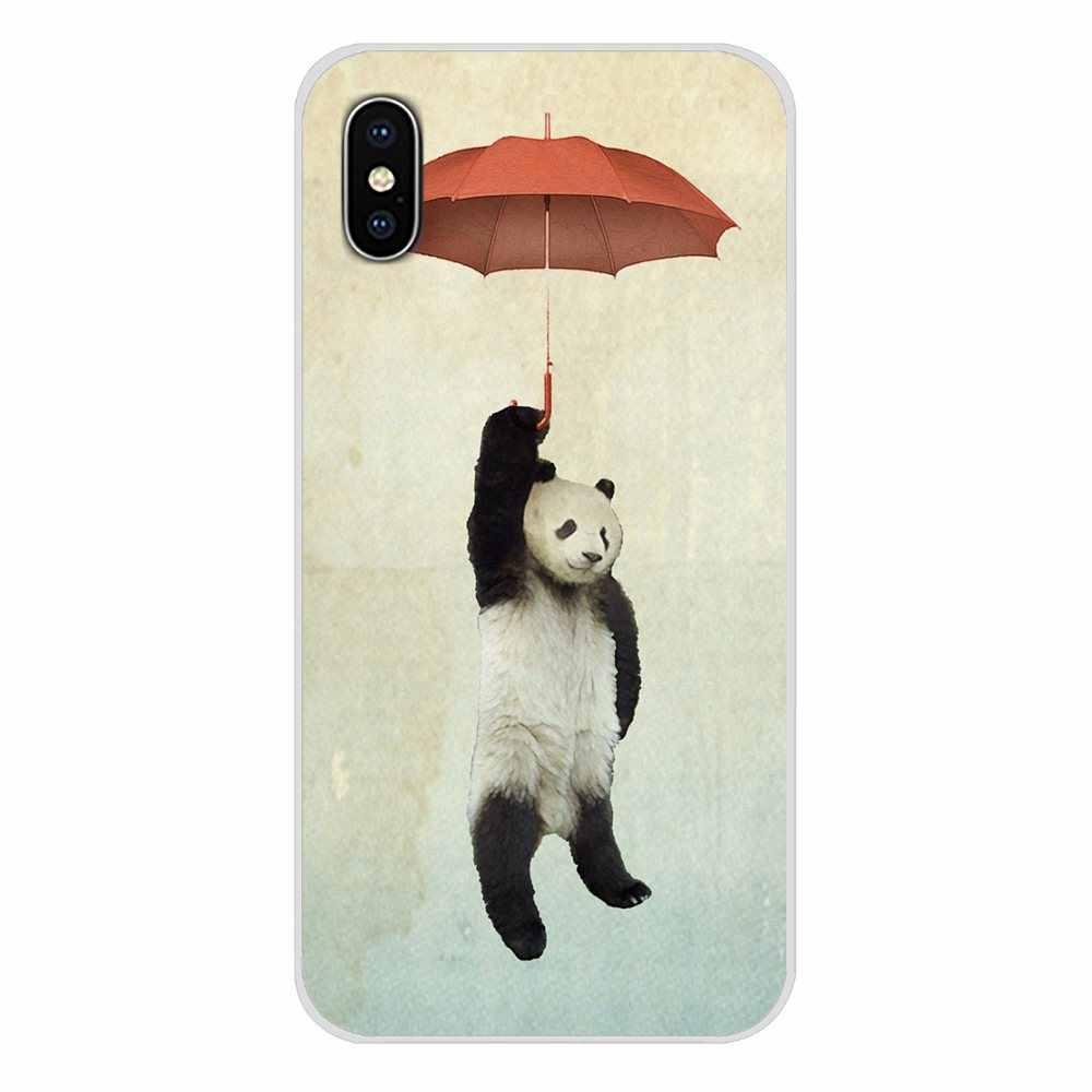 Paraguas rojo y lindo Panda para Xiaomi Redmi 4A S2 Note 3 3S 4X5 Plus 6 7 6A Pro Pocophone F1 accesorios fundas de teléfono