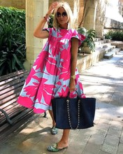 Women Casual Vintage Petal Short Sleeve Dress Summer Loose Daisy Floral Print Beach Dress Elegant O Neck Party Dress Vestido