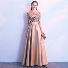 Elegant Evening Party Dresses Golden Summer Long Formal Ladies Sexy 3/4 Sleeve F