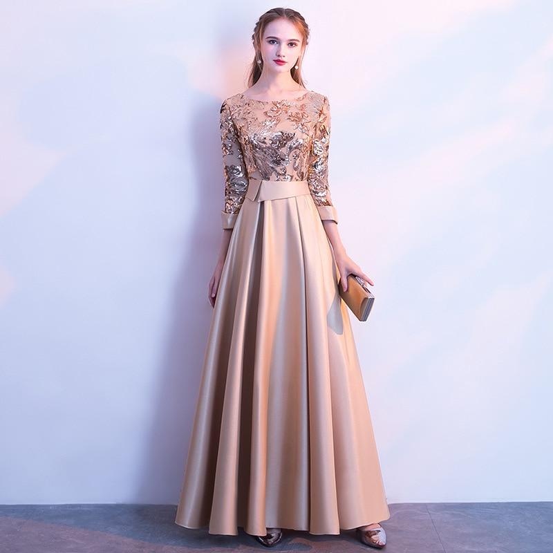 Robes de soirée élégantes été d'or longues dames formelles Sexy 3/4 manches robe de mode femmes grande taille 2019 automne