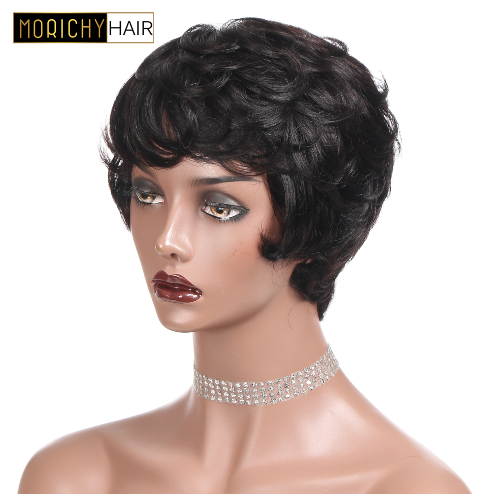 MORICHY Piexe Cut Human Hair Wigs For Women Brazilian Short Cut Wigs Natural Black Color Non-Remy M Machine Made Human Hair Wig