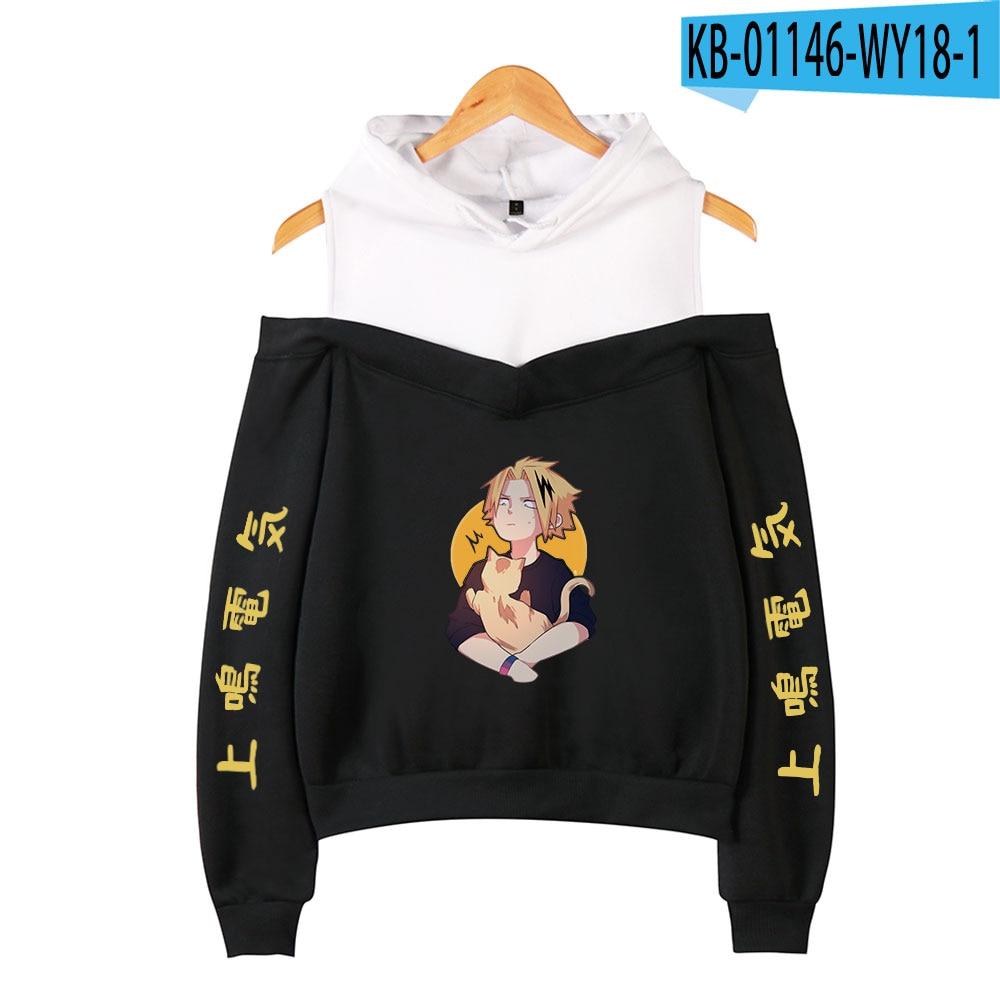 My Hero Academia Hoodies Female Off Shoulder Sweatshirt Women's Pullover Harajuku Streetwear Denki Kaminari 2021 Anime Clothes 20
