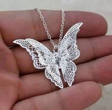 цена на Wholesale New Fashion Women's Jewelry Butterfly Pendant & Necklace Chain Women Lovely Butterfly Pendant Chain Necklace Jewelry