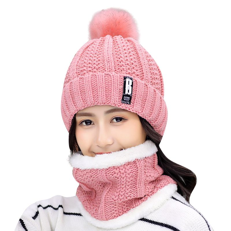 2019 Women Winter Wool Cap Fashion New Plus Velvet Thickening Scarf To Keep Warm A Few People Knitted Wool Cap
