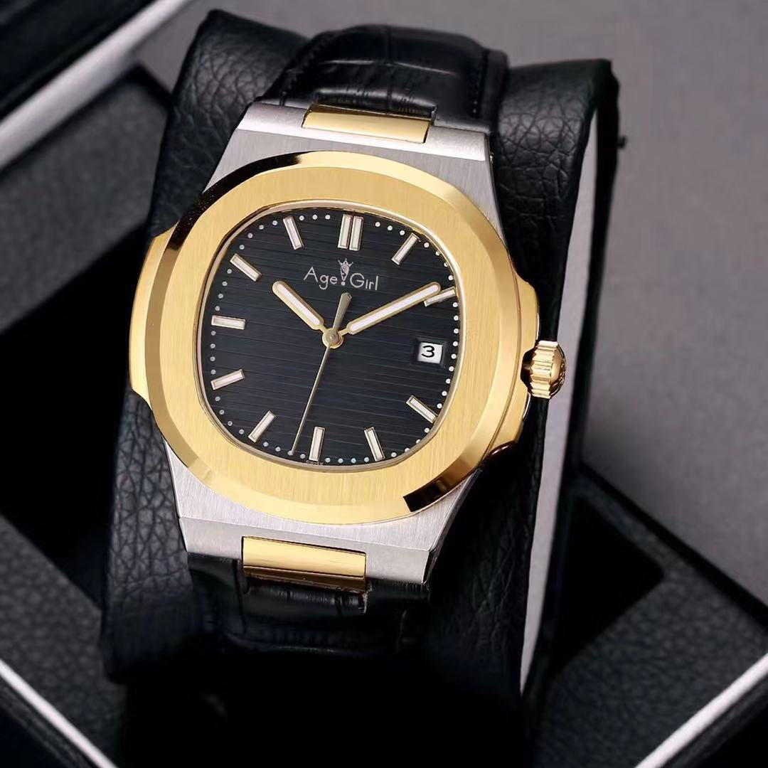 Luxury Brand New Automatic Mechanical Men Watch Silver Yellow Gold Sapphire Stainless Steel Transparent Black Leather Grey Blue