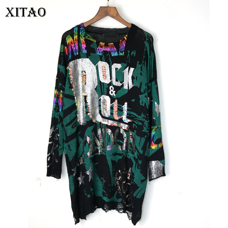 XITAO Letter Bronzing Hole Sweater Knitted Pullover Elegant 2019 Autumn Korea Fashion Minority Casual Loose Sweater Top GCC1984