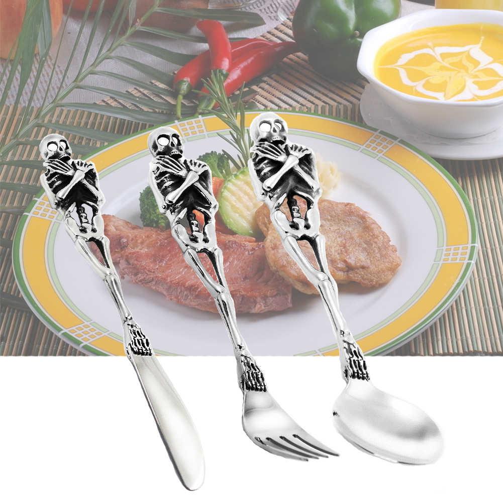 Cozinha do dia das bruxas Crânio Casamento Festa Jantar Colher Faca Garfo de Aço Inoxidável Portátil Conjunto de Talheres talheres Talheres Moderno