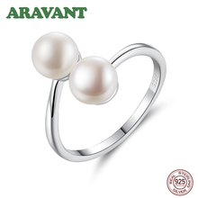 Natural Freshwater Double Pearl Ring 925 Sterling Silver Open Adjustable Rings For Women Party Jewelry