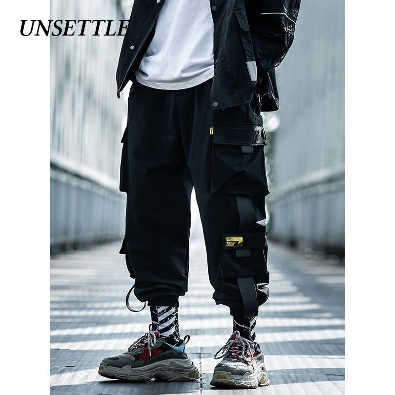 UNSETTLE 2020SS Men's Side Pockets Cargo Harem Pants Hip Hop Casual Male Tatical Joggers Ankel Trousers Casual Streetwear Pants