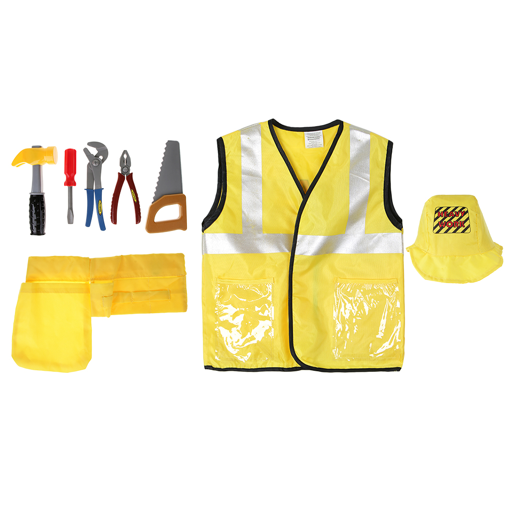 8pcs/Set Kids Construction Worker Engineering Costumes Uniform Halloween Cosplay Party