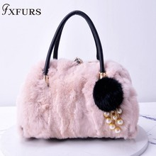 2019 New Rabbit Fur Handbags Women Fashion Real Fur Bags Winter with Diamond Rabbit Fur Balls Single Shoulder Bags Lady Fur Bags цена