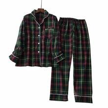 Homens E Mulheres Amantes Pijamas Set Estilo Simples Xadrez Cardigan + Calças Casal Sleepwear Solto Comfort Algodão Homewear Para O Outono