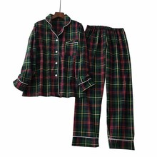 Men And Women Lovers Pajamas Set Simple Style Plaid Cardigan+Pants Couple Loose Sleepwear Comfort Cotton  Homewear For Autumn