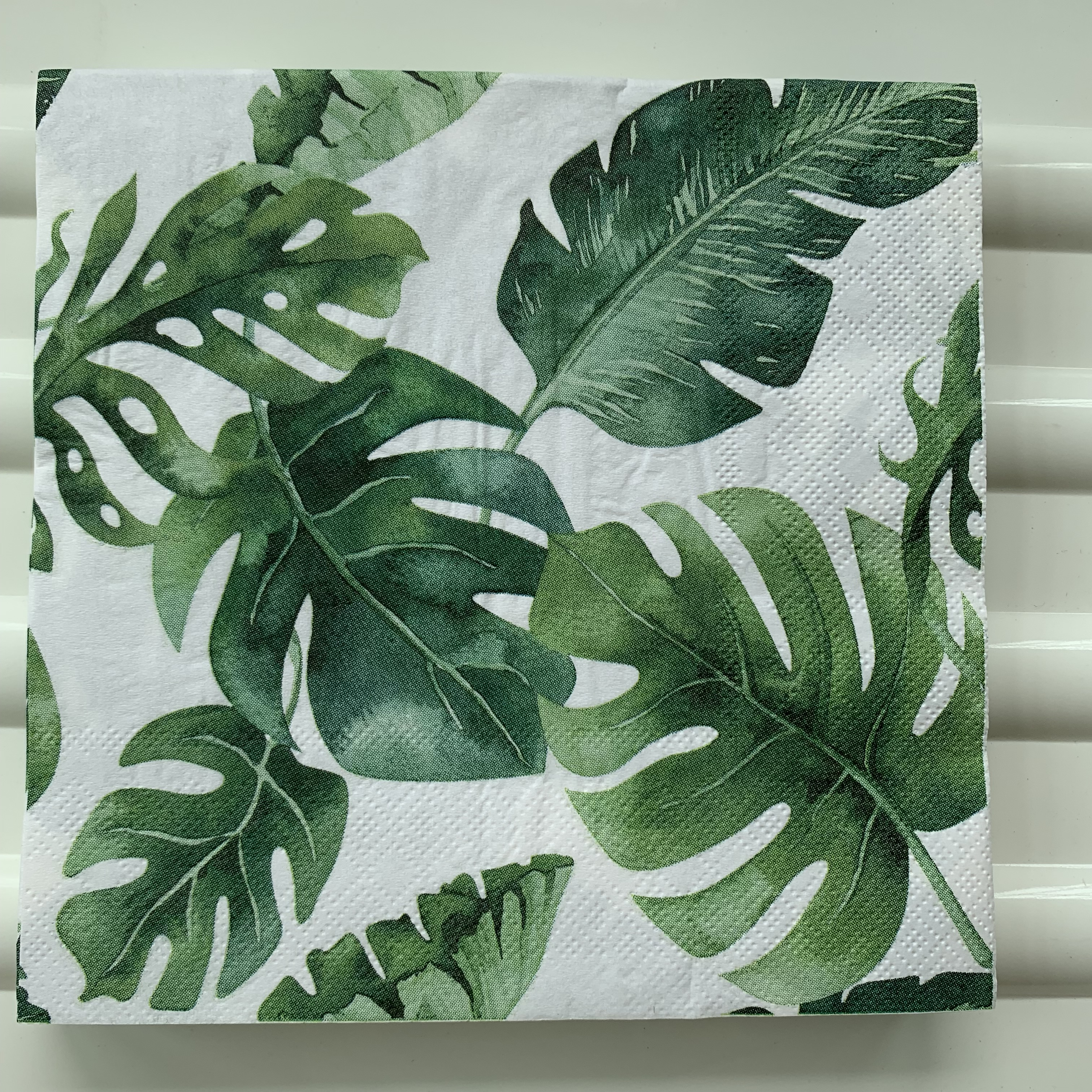 Image 5 - 20 vintage napkin paper elegant tissue blue green Monstera leaf decoupage wedding birthday party decor beautiful serviettes-in Disposable Party Tableware from Home & Garden