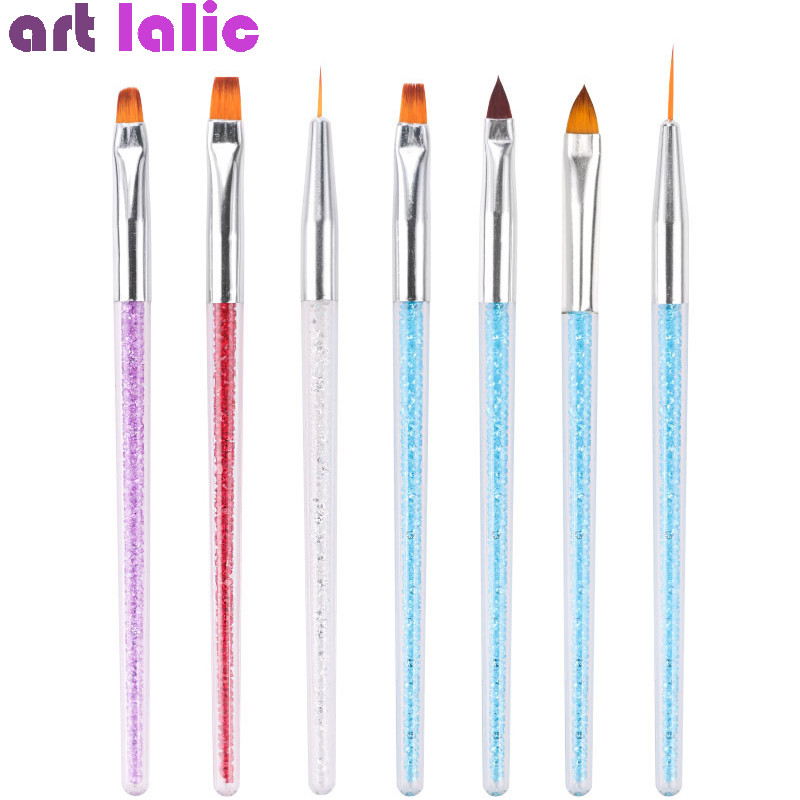 7 Styles Rhinestone Acrylic Handle Brushes Nail Art Line Flower Painting UV Gel Lacquer Coating Shaping Flat Fan Angle Pen