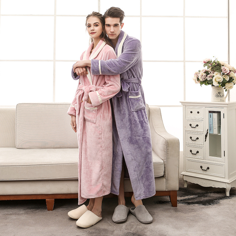 Chinese Factory Men Women Winter Robe Large Size Extra Long Water Velvet Warm Thermal Bathrobe Male Kimono Dressing Gown