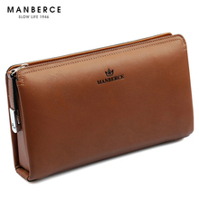 MANBERCE 2019 New High-end Mens Hand Bag Head Layer Cowhide Business Leather Long Magnetic Buckle Wallet Free Shipping