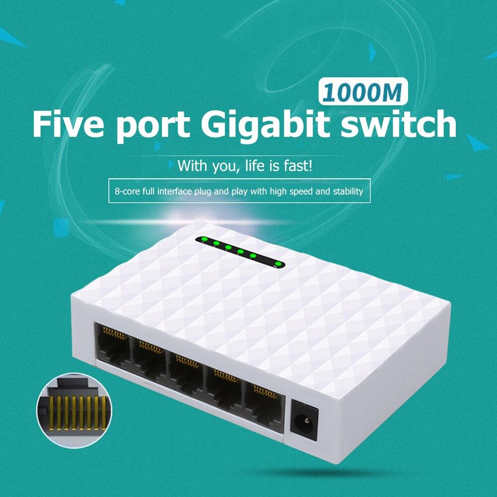 For Home Monitor 5 Ports 10/100/1000M Gigabit Network Switch RJ45 LAN Desktop Fast Ethernet HUB Shunt for MediaTek/MTK7530 EU/US