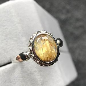 Image 1 - 12X10Mm Natuurlijke Gold Rutielkwarts Ring Voor Vrouw Man Crystal Oval Kralen Zilveren Fashion Maat Verstelbaar Ring sieraden Aaaaa