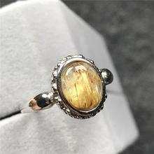 12x10mm Natural Gold Rutilated Quartz Ring For Woman Man Crystal Oval Beads Silver Fashion Adjustable Size Ring Jewelry AAAAA