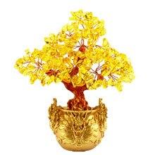 Kryształowe szczęśliwe pieniądze drzewo Feng Shui dla bogactwa i szczęścia Home Decor prezent 7 cali
