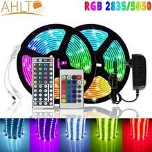 5M LED Streifen Licht SMD 5050 2835 RGB IP20 Band Streifen DC 12V Diode Band IR Controller Adapter weihnachten Neon Schnur decke lampe