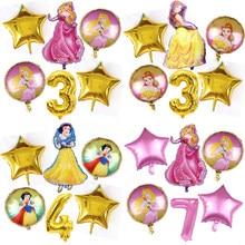 Ballons aurore Belle et Six princesses, 6 pièces, pour décoration de fête d'anniversaire, blanc neige, rose, 32 pouces, haute qualité