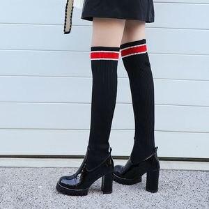 Image 4 - ALLBITEFO hakiki deri + Örgü yün kadın botları Yüksek kaliteli kadın moda yüksek topuk kadın diz yüksek çizmeler Sonbahar Kış