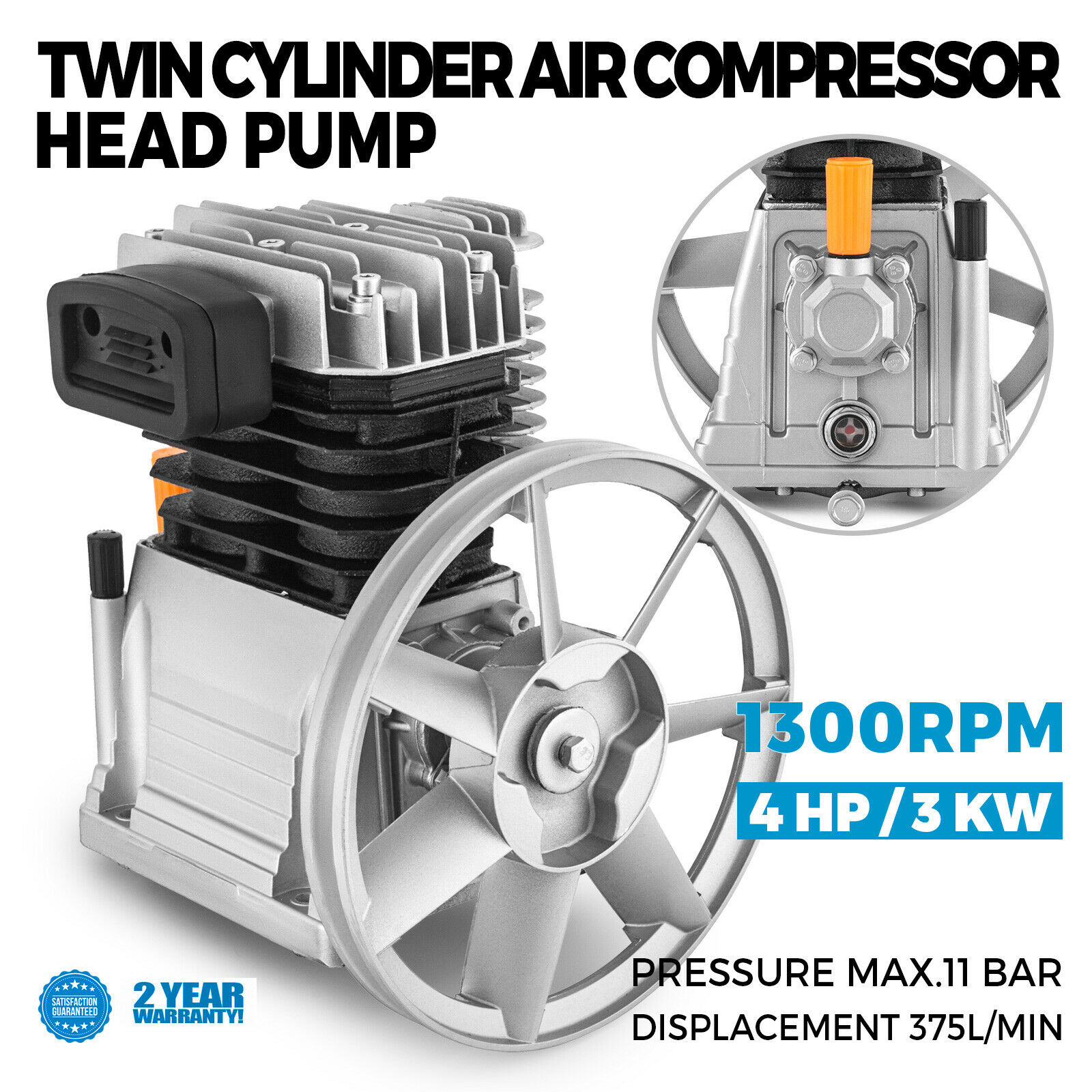 Air Compressor Head Pump 375L 3KW Piston Type Double Cylinder Pump Head 1300rpm 1 Stage 11 Bar Head Construction