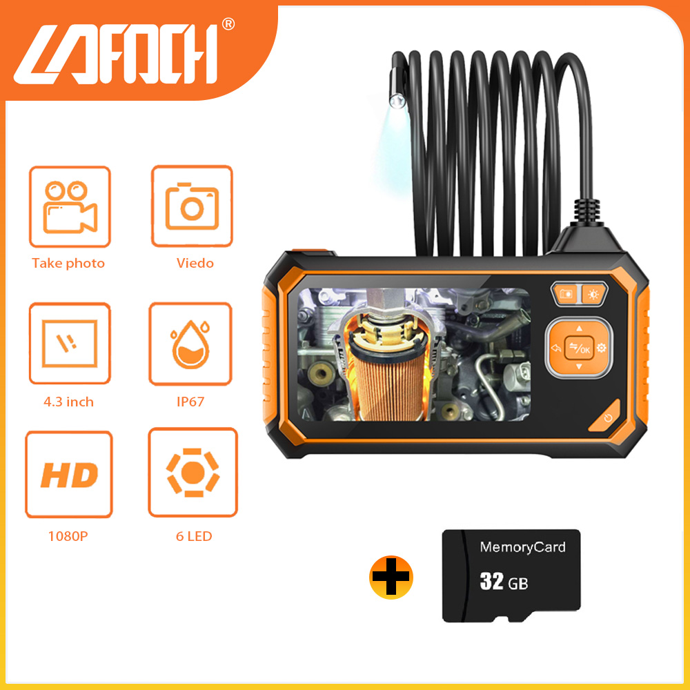 """8mm Industrial Endoscope Camera 1080P HD 4.3"""" Screen Pipe Drain Sewer Duct Inspection Camera Waterproof Camera WIth 32GB TF Card"""