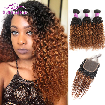 Soft Feel Hair Ombre Brazilian Kinky Curly Weave Human Hair 3/4 Bundles With Closure T1B/30 Ombre Bundles With Closure Remy Hair ali afee hair ombre hair bundles brazilian body wave t1b 4 27 t1b 4 30 color non remy hair weave 100% human hair 3 bundles deal