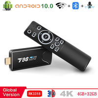 2021 Smart Tv-stick Android TV Box 10 4G 32G 3D Video 4K 2,4G 5G wifi Bluetooth RK3318 Quad-Core-TV Box Set top box TV empfänger