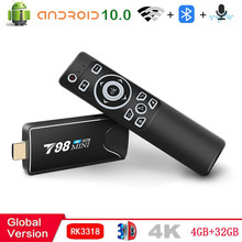 2021 Smart Tv stick Android TV Box 10 4G 32G 3D Video 4K 2.4G 5G Wifi Bluetooth RK3318 Quad-Core TV Box Set top box TV receiver